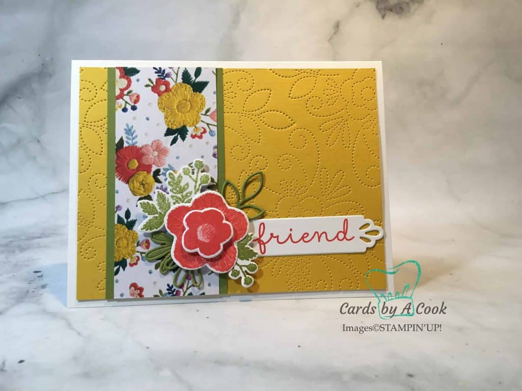 faux stitched background card is pretty and simple to make