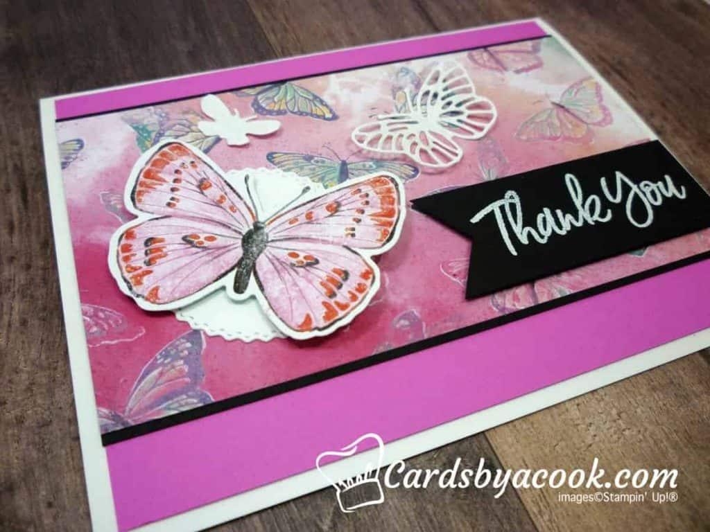 pretty pink card featuring butterflies